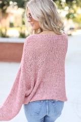 Oversized Loose Knit Sweater in Pink Back View