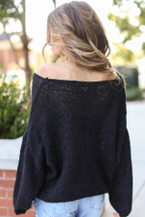 Oversized Loose Knit Sweater in Black Back View