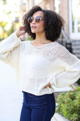 Oversized Loose Knit Sweater in Ivory Side View