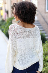 Oversized Loose Knit Sweater in Ivory Back View