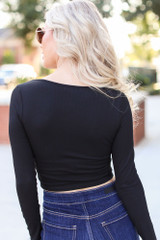 Button Front Crop Top Back View