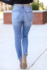 Distressed Mom Jeans Back View