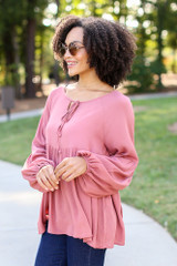 Oversized Babydoll Blouse in Mauve Side View