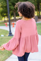 Oversized Babydoll Blouse in Mauve Back View