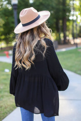 Oversized Babydoll Blouse in Black Back View
