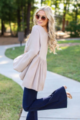 Oversized Babydoll Blouse in Taupe Side View
