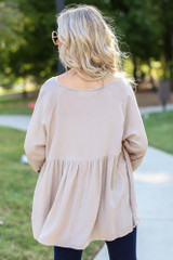 Oversized Babydoll Blouse in Taupe Back View