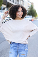 Taupe - Textured Oversized Top from Dress Up