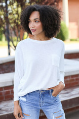 White - Dress Up model wearing a Textured Oversized Top with distressed jeans