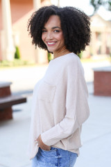 Textured Oversized Top in Taupe Side View