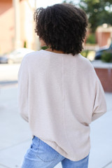 Textured Oversized Top in Taupe Back View