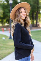 Textured Oversized Top in Black Side View