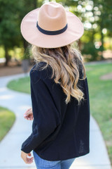 Textured Oversized Top in Black Back View