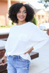 Textured Oversized Top in White Side View