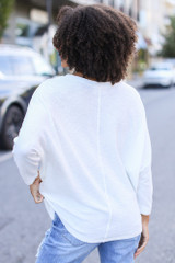 Textured Oversized Top in White Back View