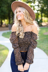 Black - Smocked Leopard Blouse from Dress Up