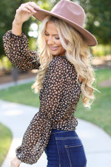 Smocked Leopard Blouse Side View