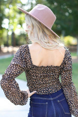 Smocked Leopard Blouse Back View