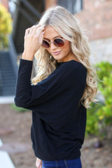 Oversized Knit Top in Black Side View