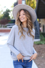 Oversized Knit Top in Grey Front View