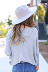 Oversized Knit Top in Grey Back View