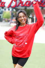 Model wearing a Yelling From My Couch Pullover