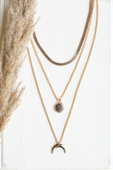 Gold - Crescent Horn Layered Necklace from Dress Up