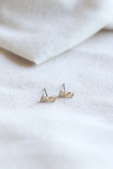Close Up of Gold Stud Earring Set