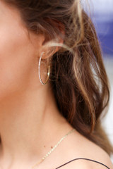 Gold - Rhinestone Chain Hoop Earrings from Dress Up