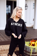 Black - Dress Up model wearing an Athens Cropped Hoodie