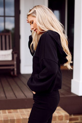 Athens Cropped Hoodie in Black Side View