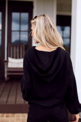 Athens Cropped Hoodie in Black Back View