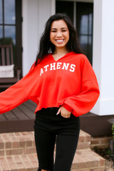 Red - Athens Cropped Hoodie
