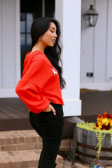 Athens Cropped Hoodie in Red Side View