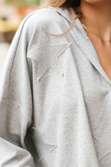 Heather Grey - Oversized Star Hoodie from Dress Up