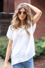 White - Oversized Linen Top from Dress Up
