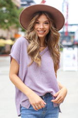 Lilac - Dress Up model wearing an Oversized Linen Top with a wide brim hat