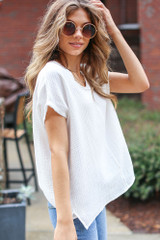 Oversized Linen Top in White Side View