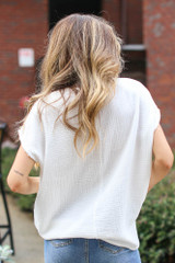Oversized Linen Top in White Back View