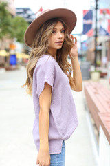 Oversized Linen Top in Lilac Side View