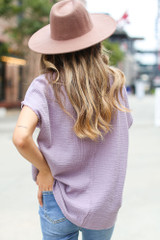 Oversized Linen Top in Lilac Back View