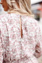 Close Up of the Floral Surplice Dress