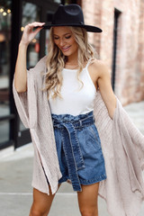 Dress Up model wearing Paperbag Waist Denim Shorts