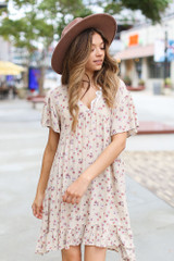 Natural - Floral Babydoll Dress from Dress Up Front View
