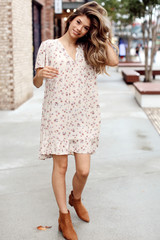 Natural - Floral Babydoll Dress from Dress Up