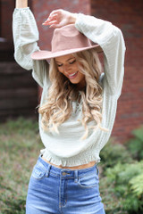 Sage - Model wearing a Textured Blouse
