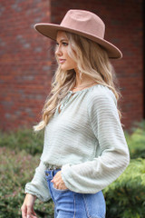 Textured Blouse in Sage Side View