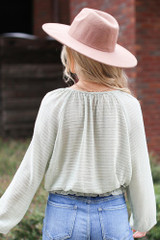 Textured Blouse in Sage Back View