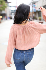 Textured Blouse in Mauve Back View