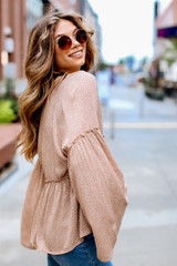 Taupe - Spotted Surplice Blouse